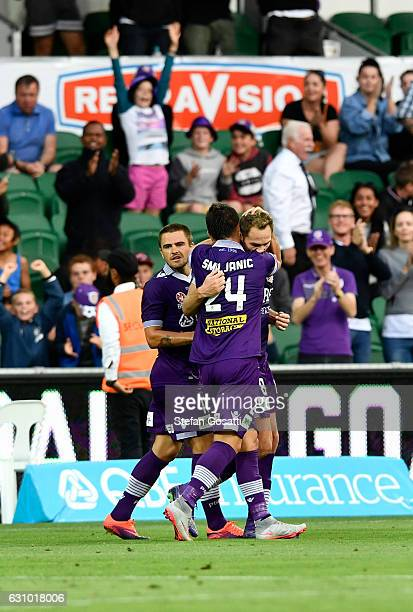 Rostyn Griffiths of the Glory celebrates a goal during the round 14 ALeague match between the Perth Glory and the Wellington Phoenix at nib Stadium...