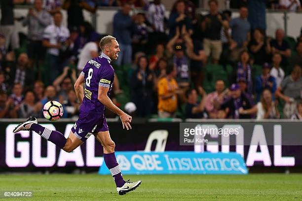 Rostyn Griffiths of the Glory celebrates a goal during the round seven ALeague match between the Perth Glory and Adelaide United at nib Stadium on...