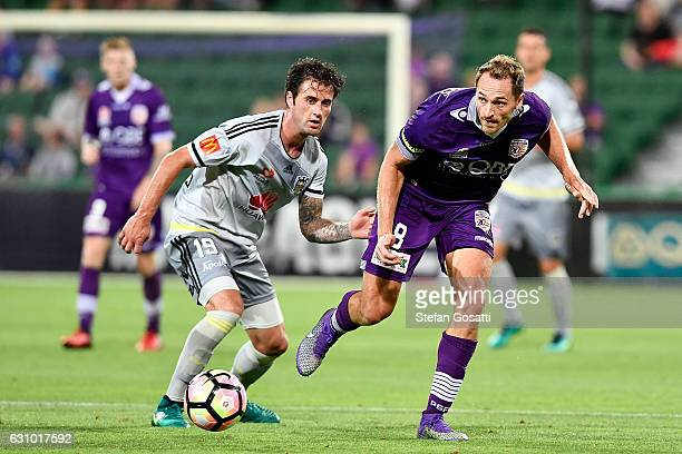 Rostyn Griffiths of the Glory competes for the ball during the round 14 ALeague match between the Perth Glory and the Wellington Phoenix at nib...