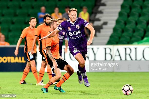 Rostyn Griffiths of the Glory competes for the ball during the round 20 ALeague match between Perth Glory and Brisbane Roar at nib Stadium on...