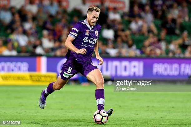 Rostyn Griffiths of the Glory controls the ball during the round 20 ALeague match between Perth Glory and Brisbane Roar at nib Stadium on February 18...
