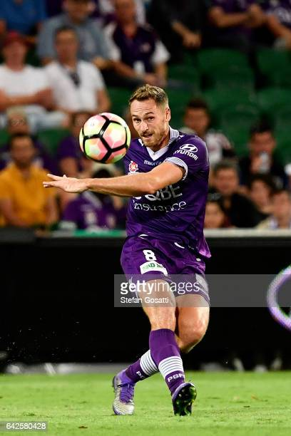 Rostyn Griffiths of the Glory kicks the ball during the round 20 ALeague match between Perth Glory and Brisbane Roar at nib Stadium on February 18...