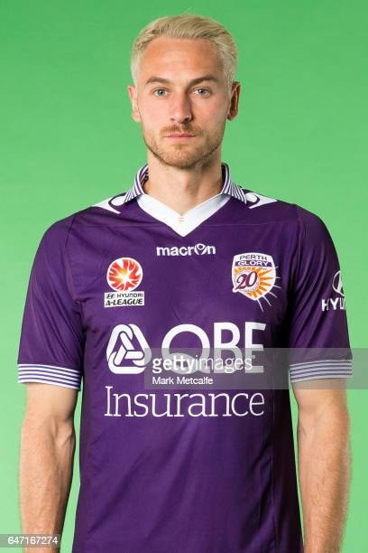 Rostyn Griffiths of the Glory poses during the Perth Glory 2016/17 ALeague headshots session at Fox Sports Studios on September 21 2016 in Sydney...