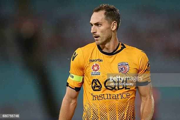 Rostyn Griffiths of the Glory watches on during the round 13 ALeague match between the Western Sydney Wanderers and Perth Glory at ANZ Stadium on...