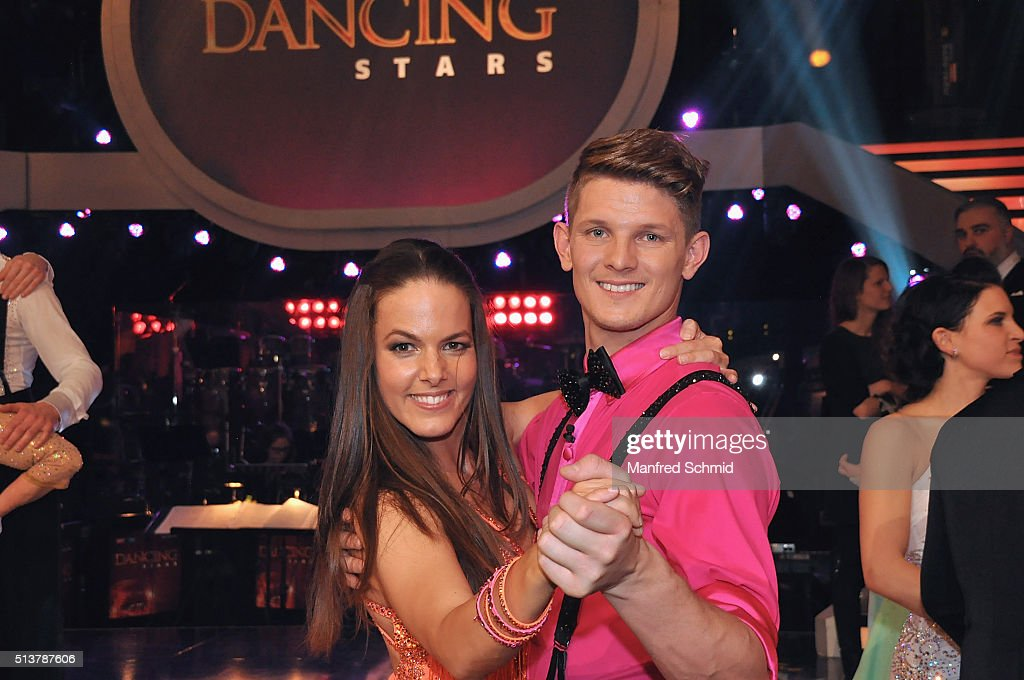 Roswitha Wieland and Thomas Morgenstern (R) pose during the TV Show 'Dancing Stars' at ORF Studio on March 4, 2016 in Vienna, Austria.