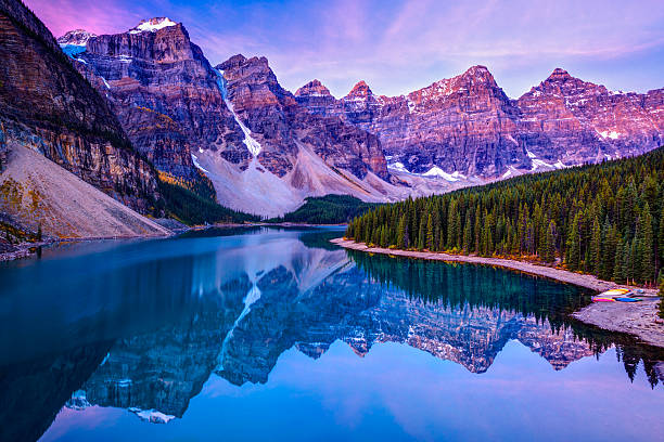 rosy clouds before sunrise at Moraine Lake