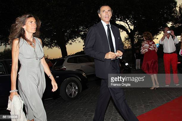 Rosy Greco and Ferdinando Brachetti Peretti arrive at Marina Cicogna Opening Exhibition at Villa Medici on June 3 2009 in Rome Italy