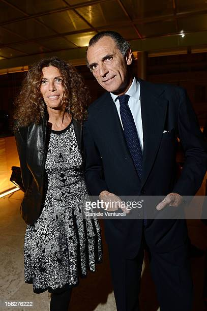 Rosy Greco and Ferdinando Brachetti Peretti attend the 2012 Telethon Gala during the 7th Rome Film Festival at Open Colonna on November 12 2012 in...