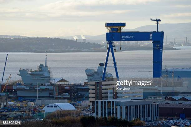 Rosyth Dockyard with the aircraft carrier HMS Prince of Wales still under construction after the announcement that 250 jobs are to be cut as the...