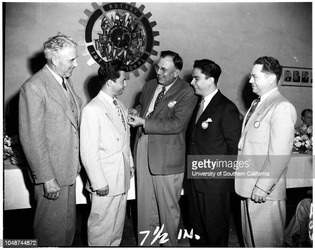 Rotary Club of Covina with foreign students 03 March 1952 W Fred Lavelle CovinaVladimir Almendinger CzechoslovakiaFriedrich WagnerMiss Ursula Schmitz...