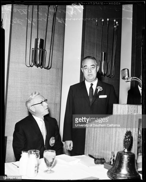Rotary luncheon, 5 December 1958. Henry Humann;Walter L Jacobs.;Caption slip reads: 'Photographer: Lapp. Date: 1958-12-54. Reporter: Frederick....