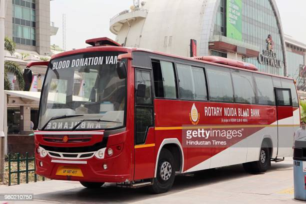Rotary Noida Blood Bank bus stands outside during a blood donation camp organised by Aarone Group along with Select Citywalk one of the most popular...