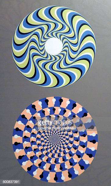 Rotating Snakes optical illusion we perceive the brightly coloured circles of the image to be in circular motion perhaps this is due to with...
