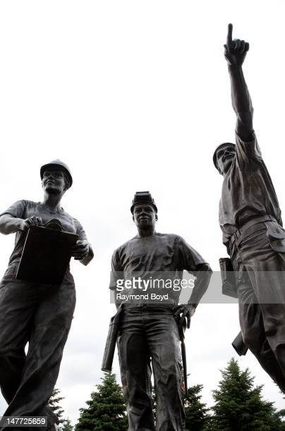 """Rotblatt Amrany Studio's """"Teamwork"""" sculpture, in appreciation of all Miller Park workers and in memory of Jeffrey A. Wischer, William R. DeGarve and..."""