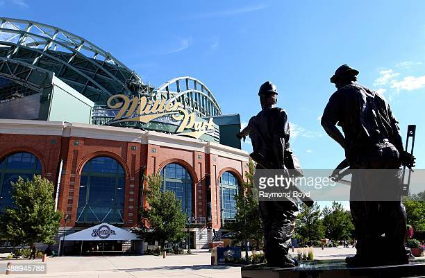 Rotblatt Amrany Studio's Teamwork sculpture in appreciation of all Miller Park workers and in memory of Jeffrey A Wischer William R DeGarve and...
