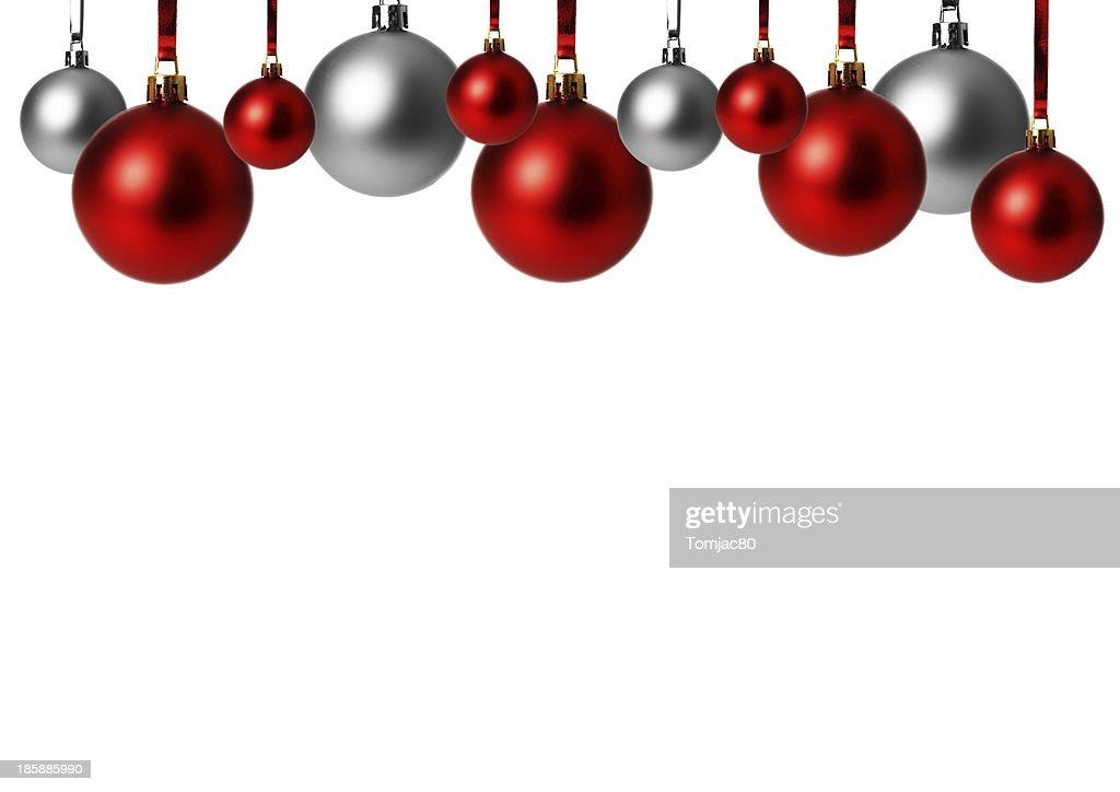 Silberne Weihnachtskugeln.Rote Und Silberne Weihnachtskugeln Hangend Freigestellt Mit