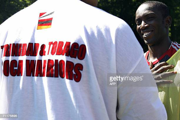 Trinidad and Tobago's forward Dwight Yorke smiles after a training session at The In der Ahe Stadium in Rotenburg 11 June 2006 Trinidad Tobago will...