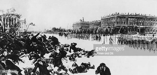'Roter Sonntag' Petersburg Rund 150000 Streikende und Demonstranten ziehen zum Winterpalais um den Zaren mit einer Petition um Reformen zu bitten...