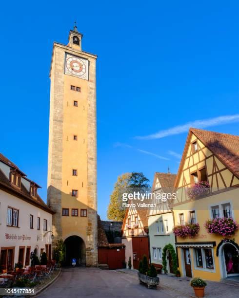rothenburg ob der tauber, burgturm (bavaria, germany) - rothenburg stock photos and pictures