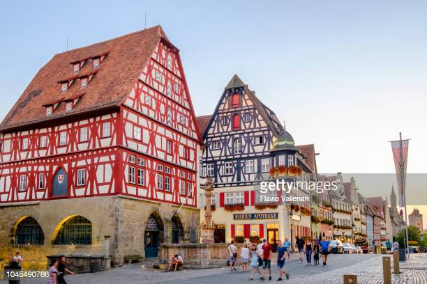 rothenburg ob der tauber, herrngasse (bavaria, germany) - rothenburg stock photos and pictures