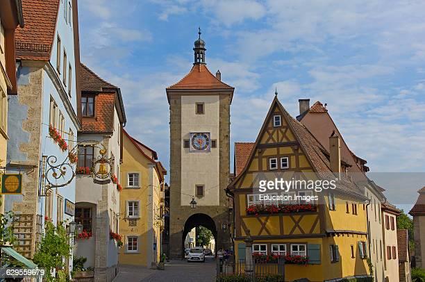 Rothenburg ob der Tauber Ploenlein Siebersturm tower Romantic Road Romantische Strasse Franconia Bavaria Germany Europe