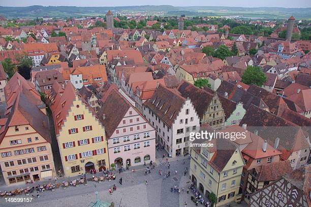 rothenburg ob der tauber: timber-framed houses - rothenburg stock photos and pictures