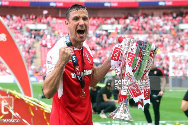 Rotherham captain and goalscorer Richard Wood poses with the trophy during the Sky Bet League One Play Off Semi FinalSecond Leg between Rotherham...