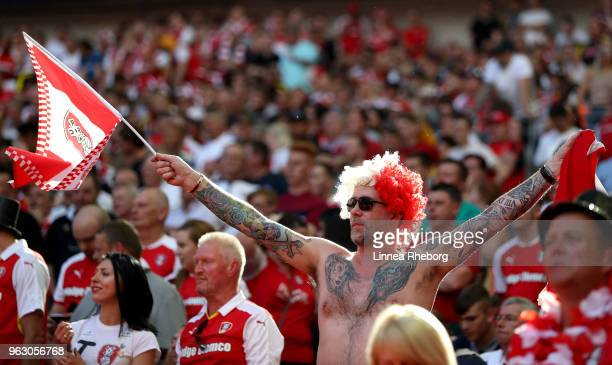 Rotherham fan celebrates his sides victory after the Sky Bet League One Play Off Final between Rotherham United and Shrewsbury Town at Wembley...