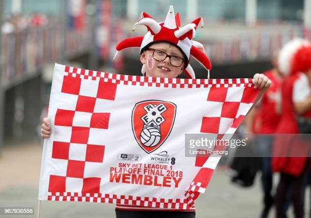 Rotherham fan poses for a photo outside the stadium prior to the Sky Bet League One Play Off Final between Rotherham United and Shrewsbury Town at...