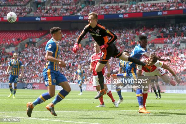 Rotherham goalkeeper Marek Rodak punches the ball clear during the Sky Bet League One Play Off Semi FinalSecond Leg between Rotherham United and...
