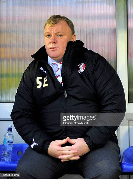 Rotherham manager Steve Evans during the FA Cup with Budweiser Third Round match between Aldershot Town and Rotherham United at The EBB Stadium on...