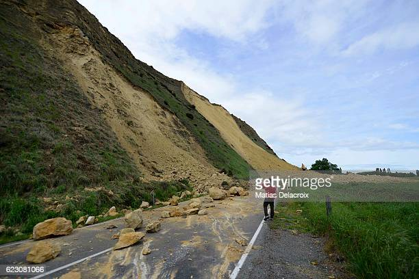 Rotherham Road 110 kms north of Christchurch shows damage and land slip in the aftermath of a 75 magnitude earthquake on November 14 2016 in Waiau...