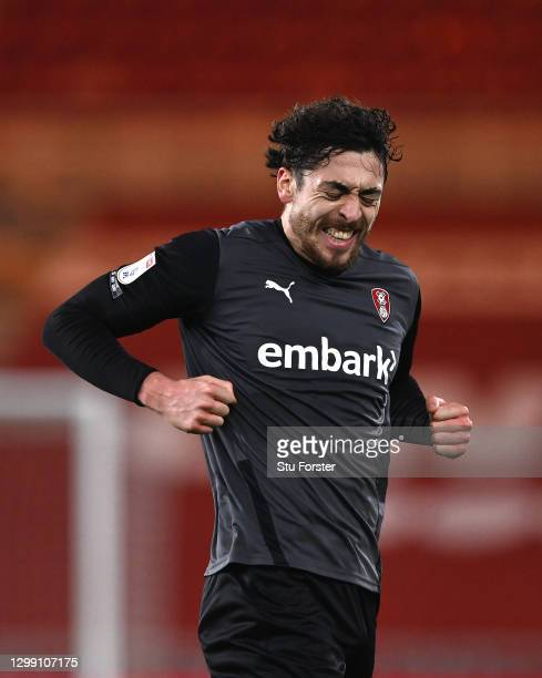 Rotherham striker Matt Crooks celebrates after scoring the opening goal during the Sky Bet Championship match between Middlesbrough and Rotherham...