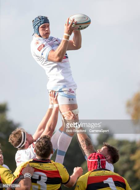 Rotherham Titans Adam Peters claims the lineout during the British Irish Cup Pool 4 match between Richmond and Rotherham Titans at The Athletic...