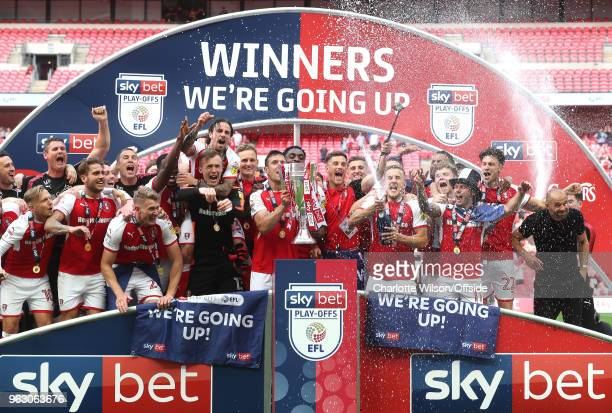 Rotherham United celebrate promotion with the trophy during the Sky Bet League One Play Off Semi FinalSecond Leg between Rotherham United and...