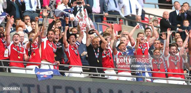 Rotherham United celebrate the promotion with the trophy during the Sky Bet League One Play Off Semi FinalSecond Leg between Rotherham United and...