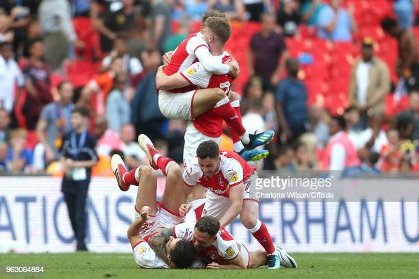 Rotherham United celebrate their win on the final whistle during the Sky Bet League One Play Off Semi FinalSecond Leg between Rotherham United and...