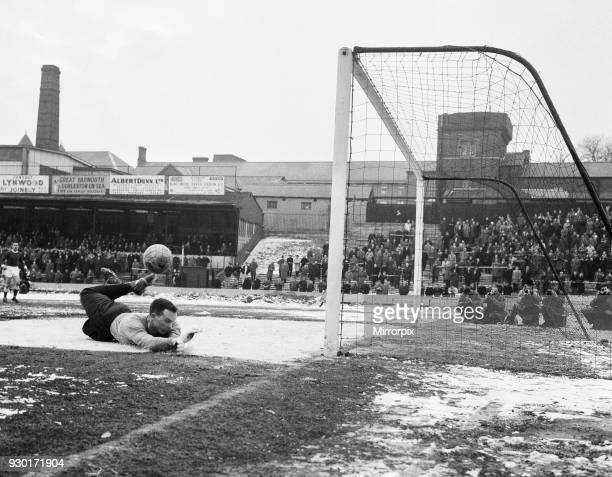 Rotherham United goalkeeper Ron Ironside makes a flying save during the FA Cup match against Watford, 20th February 1963.