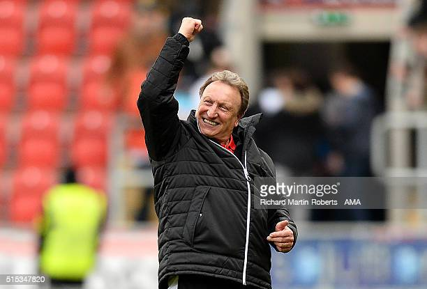Rotherham United Manager Neil Warnock celebrates at th end of the Sky Bet Championship match between Rotherham United and Derby County at the New...