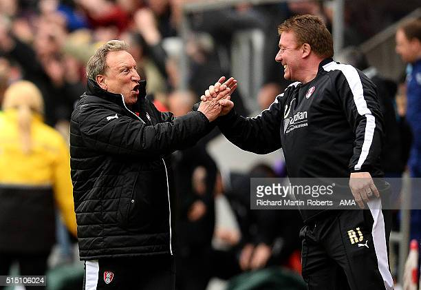 Rotherham United Manager Neil Warnock celebrates at the end of the Sky Bet Championship match between Rotherham United and Derby County at the New...