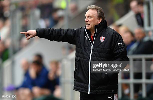Rotherham United Manager Neil Warnock gestures during the Sky Bet Championship match between Rotherham United and Derby County at the New York...