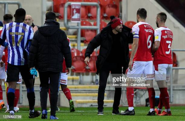 Rotherham United manager Paul Warne congratulates his players after the match during the Sky Bet Championship match between Rotherham United and...