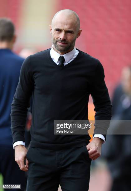 Rotherham United manager Paul Warne looks on prior to the Sky Bet League One match between Rotherham United and Northampton Town at The Aesseal New...