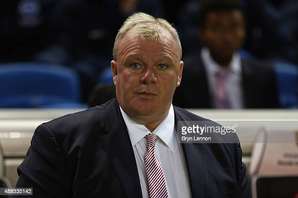 Rotherham United Manager Steve Evans looks on prior to the Sky Bet Championship match between Brighton Hove Albion and Rotherham United at Amex...