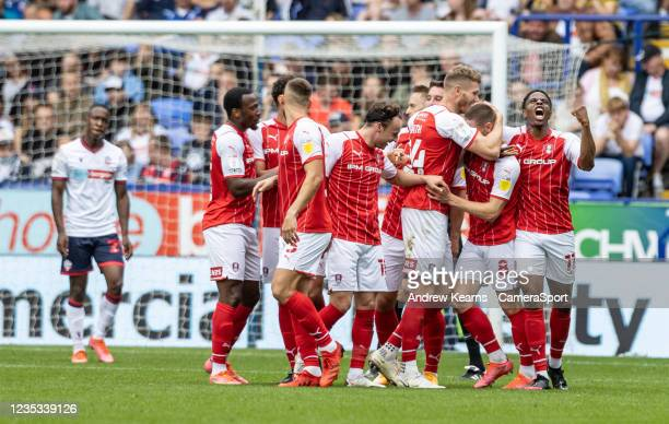 Rotherham United's Ben Wiles celebrates scoring his side's second goal with team mates during the Sky Bet League One match between Bolton Wanderers...