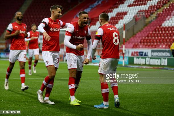 Rotherham United's Carlton Morris centre is congratulated after scores his side's first goal of the game Rotherham United v Accrington Stanley Sky...