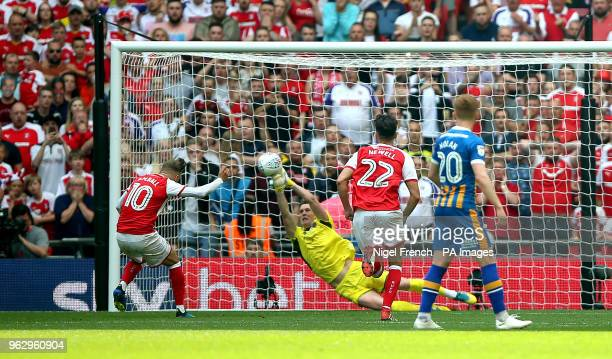 Rotherham United's David Ball has a penalty saved by Shrewsbury Town's goalkeeper Dean Henderson during the Sky Bet League One Final at Wembley...