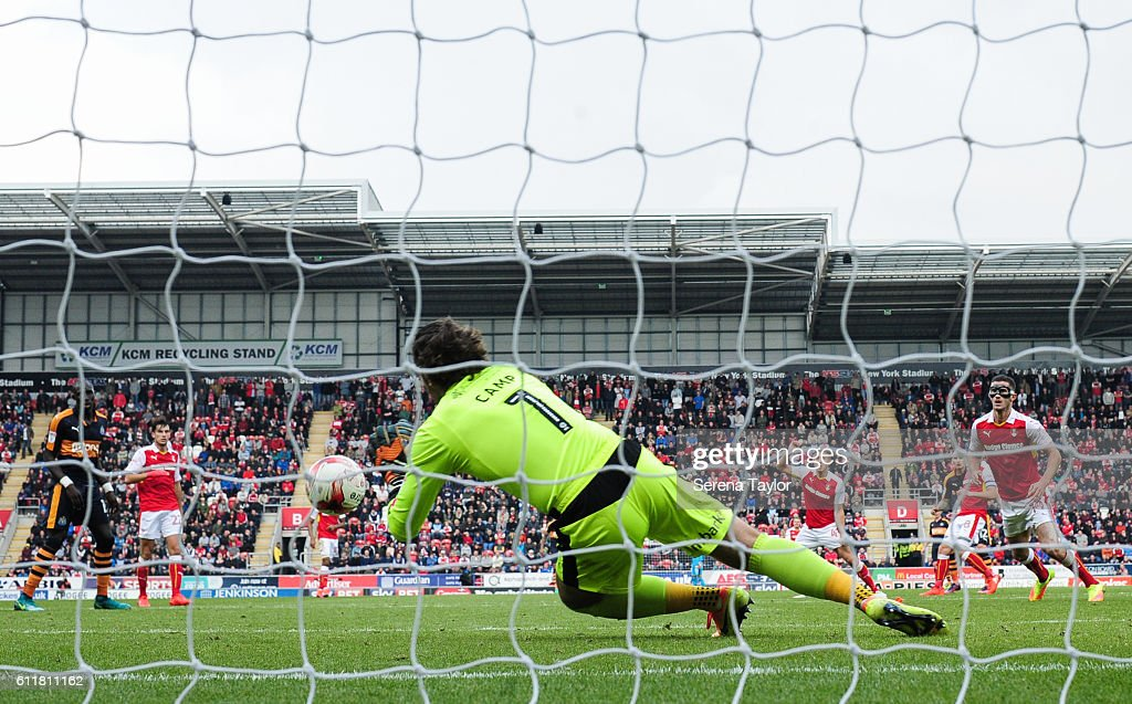 Rotherham United's Goal Keeper Lee Camp (1) dives to save a shot by partially hidden Jonjo Shelvey of Newcastle United (12) during the Sky Bet Championship match between Rotherham United and Newcastle United at The New York Stadium on October 1, 2016 in Rotherham, England.