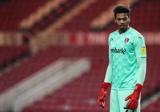 Rotherham United's Jamal Blackman during the Sky Bet Championship match between Middlesbrough and Rotherham United at Riverside Stadium on January...
