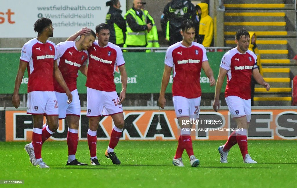 Rotherham United's Jamie Proctor, second in from left, celebrates scoring the opening goal during the Carabao Cup First Round match between Rotherham United and Lincoln City at Millmoor Ground on August 8, 2017 in Rotherham, England.